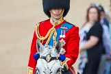 Trooping the Colour 2013: Close-up of HRH The Duke of Cambridge, Colonel Irish Guards, on horseback during the Inspection of the line.. Horse Guards Parade, Westminster, London SW1,  United Kingdom, on 15 June 2013 at 11:02, image #301
