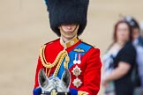 Trooping the Colour 2013: Close-up of HRH The Duke of Cambridge, Colonel Irish Guards, on horseback during the Inspection of the line.. Horse Guards Parade, Westminster, London SW1,  United Kingdom, on 15 June 2013 at 11:02, image #302