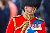 Trooping the Colour 2013: Close-up of HRH The Prince of Wales, Colonel Welsh Guards, on horseback during the Inspection of the line.. Horse Guards Parade, Westminster, London SW1,  United Kingdom, on 15 June 2013 at 11:02, image #308