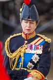 Trooping the Colour 2013: Close-up of HRH The Princess Royal, Colonel The Blues and Royals (Royal Horse Guards and 1st Dragoons), on horseback during the Inspection of the line.. Horse Guards Parade, Westminster, London SW1,  United Kingdom, on 15 June 2013 at 11:02, image #311