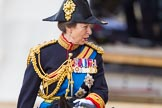 Trooping the Colour 2013: Close-up of HRH The Princess Royal, Colonel The Blues and Royals (Royal Horse Guards and 1st Dragoons), talking, on horseback during the Inspection of the line.. Horse Guards Parade, Westminster, London SW1,  United Kingdom, on 15 June 2013 at 11:02, image #313