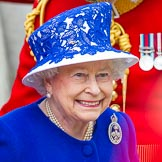 Trooping the Colour 2013: Close-up of HM The Queen, smiling, on the way to dais after the Inspection of the Line.. Horse Guards Parade, Westminster, London SW1,  United Kingdom, on 15 June 2013 at 11:08, image #384