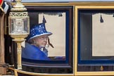 Trooping the Colour 2013: HM The Queen in the glass coach, leaving Horse Guards Parade.. Horse Guards Parade, Westminster, London SW1,  United Kingdom, on 15 June 2013 at 12:11, image #819