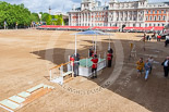 Trooping the Colour 2013: A glass roof is mounted on top of the saluting base for HM The Queen - showers are expected throughout this breezy day. Image #21, 15 June 2013 09:05 Horse Guards Parade, London, UK
