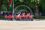 Trooping the Colour 2013: The 'Keepers of the Ground', guardsmen bearing marker flags for their respective regiments, marching on Horse Guards Road along St James's Park. Image #23, 15 June 2013 09:52 Horse Guards Parade, London, UK