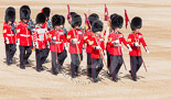 Trooping the Colour 2013: The 'Keepers of the Ground', guardsmen bearing marker flags for their respective regiments, marching towards Horse Guards Arch. Image #26, 15 June 2013 09:54 Horse Guards Parade, London, UK
