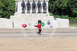 Trooping the Colour 2013: In front of the Guards Memorial, Major H S Llewelyn-Usher and Second Lieutenant A J N Smith, No. 3 Guard, 1st Battalion Welsh Guards, following the Keepers of the Ground to Horse Guards Arch. Image #28, 15 June 2013 09:55 Horse Guards Parade, London, UK