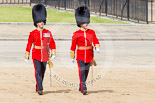Trooping the Colour 2013: Major H S Llewelyn-Usher and Second Lieutenant A J N Smith, No. 3 Guard, 1st Battalion Welsh Guards, following the Keepers of the Ground to Horse Guards Arch. Image #29, 15 June 2013 09:55 Horse Guards Parade, London, UK