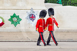 Trooping the Colour 2013: The third pair of officers following the Keepers of the Ground, Second Lieutenant D R Wellham and a Major J M Young, Grenadier Guards. Image #31, 15 June 2013 09:56 Horse Guards Parade, London, UK