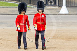Trooping the Colour 2013: The third pair of officers following the Keepers of the Ground, Second Lieutenant D R Wellham and a Major J M Young, No. 4 Guard, Nijmegen Company Grenadier Guards. Image #32, 15 June 2013 09:56 Horse Guards Parade, London, UK