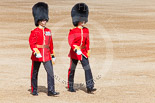 Trooping the Colour 2013: Major J A Hughes and Second Lieutenant P M Prys-Roberts, No. 5 Guard, F Company Scots Guards, following the Keepers of the Ground to Horse Guards Arch. Image #34, 15 June 2013 09:59 Horse Guards Parade, London, UK