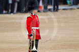 "Trooping the Colour 2013: Each of the Guards Bands has a ""position marker"" on Horse Guards Parade, here a musician for the Band of the Scots Guards. Image #39, 15 June 2013 10:10 Horse Guards Parade, London, UK"