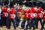 Trooping the Colour 2013: The Band of the Coldstream Guards about to change direction, Senior Drum Major Matthew Betts marching back between the lines of musicians. Image #46, 15 June 2013 10:13 Horse Guards Parade, London, UK