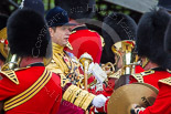 Trooping the Colour 2013: The Band of the Coldstream Guards about to change direction, Senior Drum Major Matthew Betts marching back between the lines of musicians. Image #47, 15 June 2013 10:13 Horse Guards Parade, London, UK