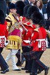 Trooping the Colour 2013: The Band of the Coldstream Guards about to change direction, Senior Drum Major Matthew Betts marching back between the lines of musicians. Image #48, 15 June 2013 10:13 Horse Guards Parade, London, UK