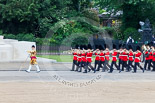 Trooping the Colour 2013: Drum Major Tony Taylor, Coldstream Guards, leading the second band to arrive at Horse Guards Parade, the Band of the Irish Guards, along the Guards Memorial. Image #51, 15 June 2013 10:14 Horse Guards Parade, London, UK