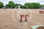Trooping the Colour 2013: The Keepers of the Ground are marching back onto Horse Guards Parade, to mark the position of their regiments. The Band of the Irish Guards is turning onto Horse Guards Parade on the St James's Park side. Image #55, 15 June 2013 10:15 Horse Guards Parade, London, UK