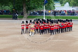 Trooping the Colour 2013: Drum Major Tony Taylor, Coldstream Guards, leading the second band to arrive at Horse Guards Parade, the Band of the Irish Guards. Image #57, 15 June 2013 10:16 Horse Guards Parade, London, UK