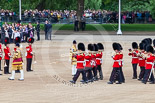 Trooping the Colour 2013: Drum Major Tony Taylor, Coldstream Guards, leading the Band of the Irish Guards past the Band of the Coldstream Guards that had arrived before. Image #58, 15 June 2013 10:16 Horse Guards Parade, London, UK