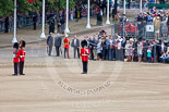 Trooping the Colour 2013: The Keepers of the Ground are in position, and WO1 Garrison Sergeant Major William 'Bill' Mott OBE MVO, Welsh Guards is making sure everything is in perfect order. Image #62, 15 June 2013 10:17 Horse Guards Parade, London, UK