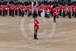Trooping the Colour 2013: WO1 Garrison Sergeant Major William 'Bill' Mott OBE MVO, Welsh Guards, standing next to the Bands of the Irish and Coldstream Guards. Image #65, 15 June 2013 10:21 Horse Guards Parade, London, UK