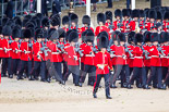 Trooping the Colour 2013: No. 6 Guard, No. 7 Company Coldstream Guards, is immediately followed by No. 5 Guard, F Company Scots Guards. Image #72, 15 June 2013 10:22 Horse Guards Parade, London, UK