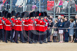 Trooping the Colour 2013: No. 6 Guard, No. 7 Company Coldstream Guards are marching along the lines of spectators onto Horse Guards Parade. Image #73, 15 June 2013 10:22 Horse Guards Parade, London, UK