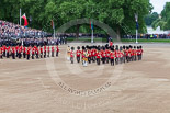 Trooping the Colour 2013: The Band of the Scots Guards arrives at Horse Guards Parade. Already present are the Band of the Coldstream Guards (red plumes) and the Band of the Irish Guards (blue plumes). Image #81, 15 June 2013 10:24 Horse Guards Parade, London, UK