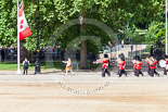 Trooping the Colour 2013: Drum Major D P Thomas, Grenadier Guards, leading the Band of the Grenadier Guards onto Horse Guards Parade along the gates of St James's Park. Image #92, 15 June 2013 10:27 Horse Guards Parade, London, UK