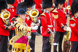 Trooping the Colour 2013: Drum Major D P Thomas, Grenadier Guards, in front of the Band of the Grenadier Guards and next the Band of the Scots Guards seen in the photo. Image #101, 15 June 2013 10:29 Horse Guards Parade, London, UK