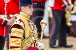 Trooping the Colour 2013: Close-up of Drum Major D P Thomas, Grenadier Guards. Image #102, 15 June 2013 10:30 Horse Guards Parade, London, UK