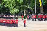 Trooping the Colour 2013: The Band of the Welsh Guards is marching along the St James's Park side of Horse Guards parade, here passing No. 3 Guard, , 1st Battalion Welsh Guards. The musicians are followed by No. 2 Guard, , 1st Battalion Welsh Guards. Image #105, 15 June 2013 10:30 Horse Guards Parade, London, UK