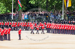 Trooping the Colour 2013: The Colour Party breaks away from No. 1 Guard - Colour Sergeant R J Heath, carrying the Colour and two sentries marching to their position on Horse Guards Parade. Image #106, 15 June 2013 10:30 Horse Guards Parade, London, UK