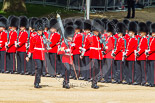 Trooping the Colour 2013: The Colour Party marches along No. 6 Guard - Colour Sergeant R J Heath, Welsh Guards, carrying the Colour, and two sentries marching to their position on Horse Guards Parade. Image #108, 15 June 2013 10:31 Horse Guards Parade, London, UK