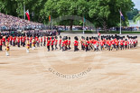 Trooping the Colour 2013: The Band of the Welsh Guards, led by Drum Major Neill Lawman, marches into position next to the other bands. Image #115, 15 June 2013 10:32 Horse Guards Parade, London, UK