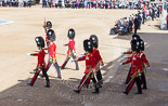 Trooping the Colour 2013: The eighteen officers, three for each Guard, that had been marching towards Horse Guards Arch before are now about to take post in front of their respective Guards. Image #136, 15 June 2013 10:37 Horse Guards Parade, London, UK