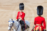 Trooping the Colour 2013: The Adjutant of the Parade, Captain C J P Davies, Welsh Guards, riding past the Major of the Parade, Major H G C Bettinson, Welsh Guards. Image #150, 15 June 2013 10:39 Horse Guards Parade, London, UK