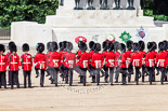 Trooping the Colour 2013: No. 3 Guard, 1st Battalion Welsh Guards, in front of the Guards Memorial, is turning around - they will open a gap in the line for members of the Royal Family to arrive. Image #169, 15 June 2013 10:43 Horse Guards Parade, London, UK