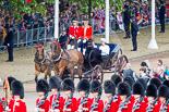 Trooping the Colour 2013: HRH Princess Beatrice of York and HRH Princess Eugenie of York in the second barouche carriage on the way across Horse Guards Parade to watch the parade from the Major General's office. Image #183, 15 June 2013 10:49 Horse Guards Parade, London, UK