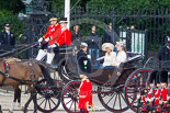 Trooping the Colour 2013: HRH Prince Harry of Wales, HRH The Duchess of Cornwall  and HRH The Duchess of Cambridge in the first barouche carriage on the way across Horse Guards Parade to watch the parade from the Major General's office. Image #189, 15 June 2013 10:49 Horse Guards Parade, London, UK