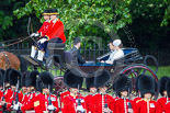 Trooping the Colour 2013: HRH The Duke of York  and his daughters, HRH Princess Beatrice of York and HRH Princess Eugenie of York in the second barouche carriage on the way across Horse Guards Parade to watch the parade from the Major General's office. Image #190, 15 June 2013 10:49 Horse Guards Parade, London, UK