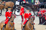 Trooping the Colour 2013: Two grooms leading the group of carriages with members of the Royal Family from Buckingham Palace to Horse Guards Building. Image #194, 15 June 2013 10:49 Horse Guards Parade, London, UK