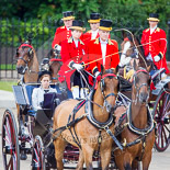 Trooping the Colour 2013: HRH Princess Beatrice of York in the second barouche carriage on the way across Horse Guards Parade to watch the parade from the Major General's office. Image #196, 15 June 2013 10:49 Horse Guards Parade, London, UK
