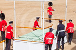 Trooping the Colour 2013: The dais, the saluting platform for HM The Queen, is moved into place in front of Horse Guards Arch, after the carriages have passed. Image #220, 15 June 2013 10:52 Horse Guards Parade, London, UK