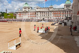 Trooping the Colour 2013: The dais, the saluting platform for HM The Queen, is moved into place in front of Horse Guards Arch, after the carriages have passed. Image #221, 15 June 2013 10:52 Horse Guards Parade, London, UK