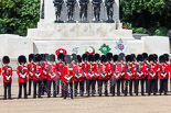 Trooping the Colour 2013: No. 3 Guard, 1st Battalion Welsh Guards, is back in position in front of the Guards Memorial after closing the gap. Image #223, 15 June 2013 10:53 Horse Guards Parade, London, UK