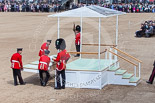 Trooping the Colour 2013: The dais, the saluting platform for HM The Queen, is in the final stages of assembly, shortly before the arrival of the Royal Procession. Image #224, 15 June 2013 10:54 Horse Guards Parade, London, UK