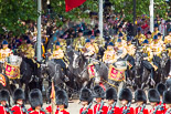 Trooping the Colour 2013: The Mounted Bands of the Household Cavalry are marching down Horse Guards Road as the third element of the Royal Procession, taking position at the northern side of Horse Guards Parade, next to St James's Park. Image #238, 15 June 2013 10:56 Horse Guards Parade, London, UK