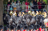 Trooping the Colour 2013: The Mounted Bands of the Household Cavalry are marching down Horse Guards Road as the third element of the Royal Procession, taking position at the northern side of Horse Guards Parade, next to St James's Park. Image #242, 15 June 2013 10:57 Horse Guards Parade, London, UK