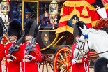 Trooping the Colour 2013: A change of focus - men from No. 6 Guard, No. 7 Company Coldstream Guards, and behind them the Glass Coach carrying HM The Queen. Image #261, 15 June 2013 10:58 Horse Guards Parade, London, UK